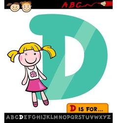 Letter d with doll cartoon vector