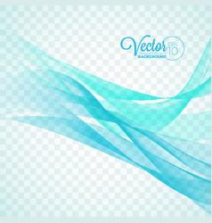 Elegant flowing blue wave design on transparent vector
