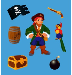 Pirate set design elements vector