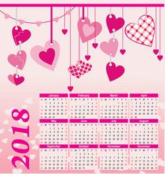 2018 year calendar hearts flowers fly vector