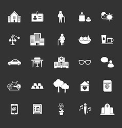 Retirement community icons on gray background vector