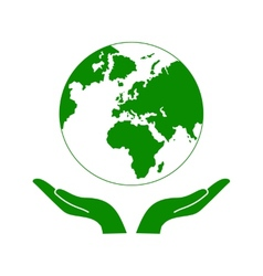 Hands holding the green earth globe vector