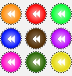 Rewind icon sign a set of nine different colored vector