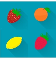 Flat - juicy fruit fruit set vector