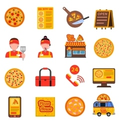 Pizza colored set vector