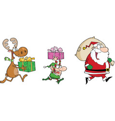 Happy santa clauself and reindeer runs with gifts vector