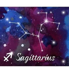Zodiac sign on watercolor abstract galaxy vector