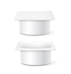 White cup tub food plastic container for dessert vector