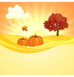 Autumn sunset background vector