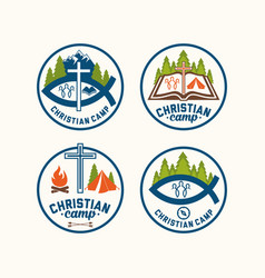 a set of christian logos of camps vector image vector image