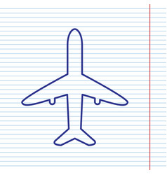 Airplane sign navy line icon vector