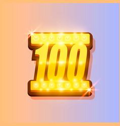 award number 100 banner gold object vector image