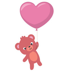 baby bear flying with heart shaped balloon vector image vector image