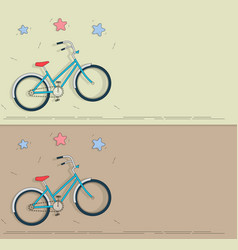 bike in cartoon style set banners on the theme vector image