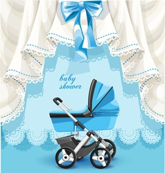 Blue baby shower card with baby carriage vector image vector image