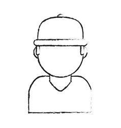 Blurred silhouette cartoon half body faceless man vector