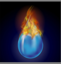 Burning water drop with fire flame vector