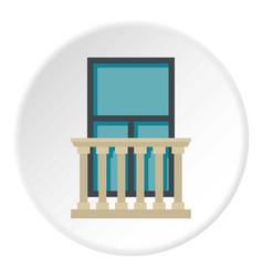 Classic balcony balustrade with window icon circle vector
