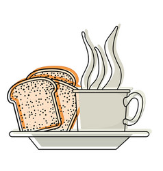 Coffee cup and bread slices on dish in watercolor vector