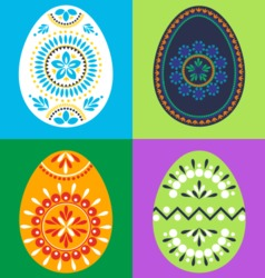 Colored easter eggs with ornaments vector