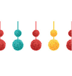 colorful decorative double pompoms big and vector image