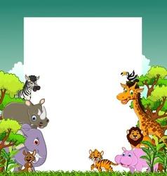 Cute animal cartoon with tropical forest backgroun vector
