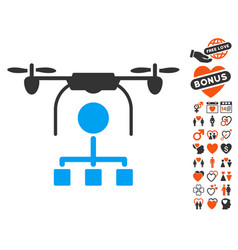 drone distribution icon with love bonus vector image vector image