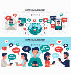 electronic chat messages horizontal banners vector image vector image