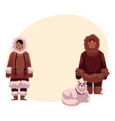 eskimo inuit couple in warm winter clothes with vector image vector image