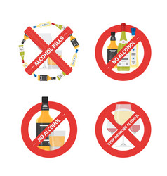 flat stop drinking icons set of alcohol vector image vector image