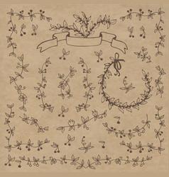 floral doodle set vector image vector image