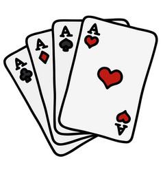 Four poker aces vector