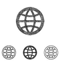 Globe icon set - sketch line art vector