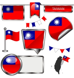 Glossy icons with Taiwanese flag vector image vector image