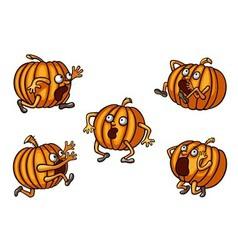 Halloween runaway pumpkin set vector