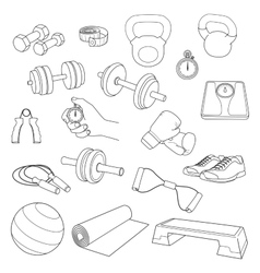 Hand drawn set of fitness accessories Dumbbells vector image vector image