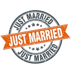 Just married round orange grungy vintage isolated vector