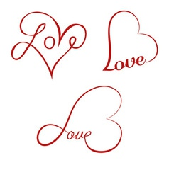 Love calligraphy hearts vector