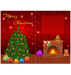 merry christmas greeting card design with empty vector image
