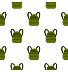 Military backpack pattern flat vector