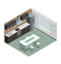 Modern Kitchen Isometric View Image vector image