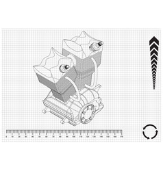 Motorcycle engine and cogwheels vector
