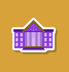 paper sticker on stylish background courthouse vector image vector image
