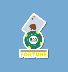 paper sticker on stylish background poker fortune vector image vector image