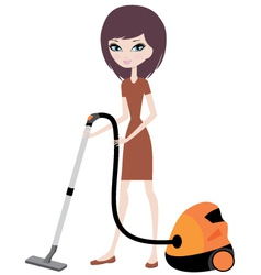 pretty girl with vacuum cleaner vector image