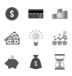 Set of money icons and symbols in trendy flat vector
