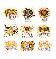 summer set for label design summer travel sea vector image