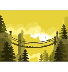 Suspension bridge design flat vector