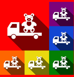 Truck with bear set of icons with flat vector