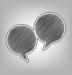 two speech bubble sign pencil sketch vector image vector image